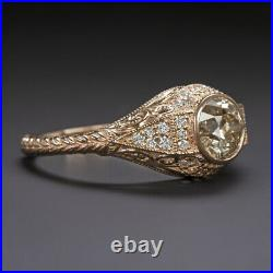 0.85ct OLD EUROPEAN CUT DIAMOND ENGAGEMENT RING VINTAGE ROSE GOLD ANTIQUE STYLE