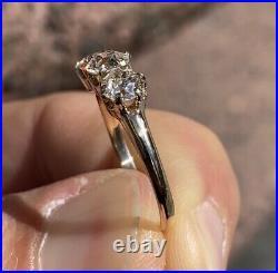 1.10ct Old European Cut Diamond Vintage Style Three Stone Ring