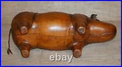 1 Of 2 New Old Stock Liberty London Style Omersa Brown Leather Footstool Rhino's