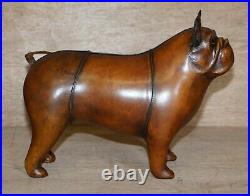 1 Of 2 New Old Stock Liberty Style Omersa Brown Leather Footstool French Bulldog