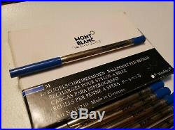 10 Vintage Montblanc Blue Medium Point Ballpoint Refill New Old Style & Adapter