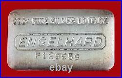 10 oz Vintage Engelhard. 999 Fine Silver Old Pour Loaf Style Bar No P129959