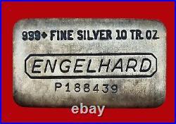 10 oz Vintage Engelhard. 999 Fine Silver Old Pour Loaf Style Bar No P188439