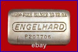 10 oz Vintage Engelhard. 999 Fine Silver Old Pour Loaf Style Bar No P207706