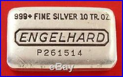 10 oz Vintage Engelhard. 999 Fine Silver Old Pour Loaf Style Bar No P261514