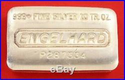 10 oz Vintage Engelhard. 999 Fine Silver Old Pour Loaf Style Bar No P287334