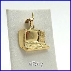 14K Gold 3D Old Style Vintage Computer Charm Pendant 3.6 Grams