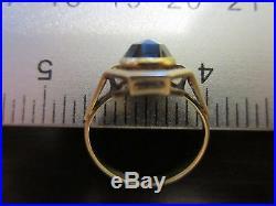 14K Yellow Gold Dark Red Garnet Antique Old Style VTG Designer Signed Ring SZ 5