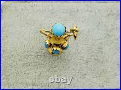 18K Gold Turquoise Italian Vase, Urn Charm- Vintage, Estate- Old World Style- YG