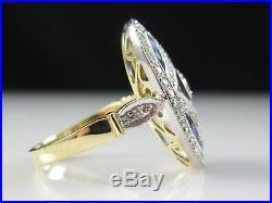 18K Old European Cut Diamond Ring Blue Sapphire Vintage Style Art Deco Retro