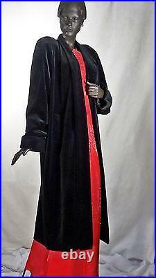 1940s Style Opera Coat Black Velvet Old Hollywood Sz L #1228