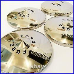 1949-50 Ford Hub Caps Deluxe Style with Painted Letters- Pol S/S- (Set of 4)