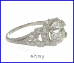 2.09ct GIA Certified Old European Platinum Antique Style Diamond Engagement Ring