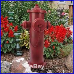 23 Old School Vintage Style Firefighter Red Metal 3 Nozzle Fire Hydrant Statue