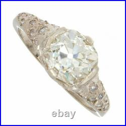 2ct Certified Old Mine Cut Diamond Vintage Style Platinum Engagement Ring