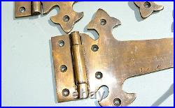 4 Large hinges vintage aged old style solid Brass DOOR box heavy 11 gate B