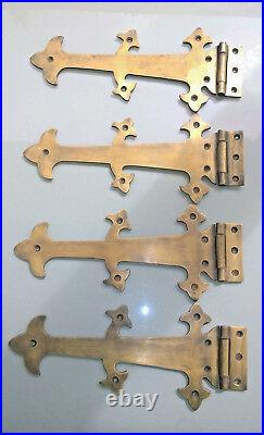 4 Large hinges vintage aged old style solid Brass DOOR box restore heavy 26 cm B