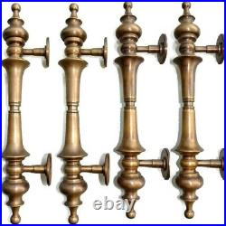 4 large DOOR handle pulls solid SPUN hollow brass vintage aged old style 12 B