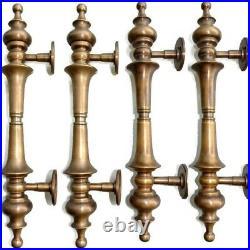 4 light large DOOR handle pulls solid SPUN brass vintage aged old style 12 B