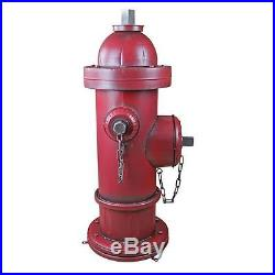 41 Old School Vintage Style Firefighter Red Metal 3 Nozzle Fire Hydrant Statue