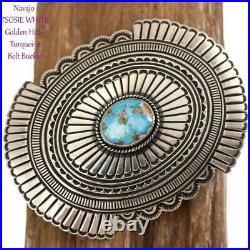A+ BELT BUCKLE Sterling Silver Golden Hill Turquoise Navajo Vintage Old Style