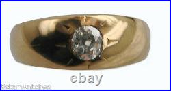 Antique 1800s Victorian Rose Gold Old Mine Cut Diamond Gypsy Style Unisex Ring