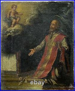 Antique 18th C. Old Master Style Spanish School Religious Saint Putti Oil Canvas