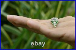 Antique 3 Carat Old Mine Diamond Engagement Ring Art Deco Style Emerald Platinum