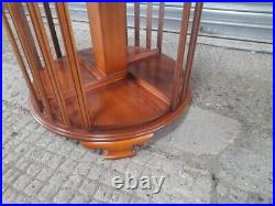 Antique Edwardian Old Inlaid Style Revolving Rotating Bookcase Display Cabinet