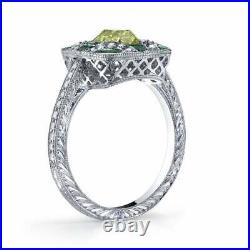 Antique Edwardian Style Fancy Yellow Old Mine Cut Diamond and Emerald Ring