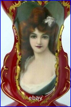 Antique French Fleur de Lys Old Paris Style Porcelain Vases 9.5 H, Pair