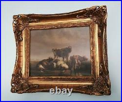 Antique / Old Vintage Style Oil Painting on Metal. Signed Highland Cattle