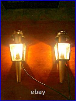Antique Pair Brass Victorian Style Compact Size Electric Old Coach Porch Lamps