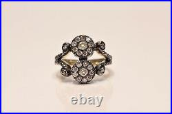 Antique Style Russian Amazing 14k Gold Old Cut Diamond Decorated Ring