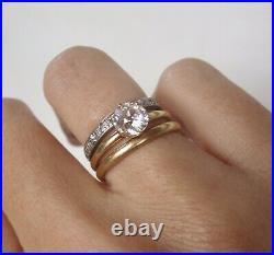 Antique Tiffany Style Old European Cut Diamond Solitaire Engagement Signed Kohn