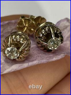 Antique Victorian Old Mine Cut Diamond Earrings in 14K Yellow Gold Russian Style
