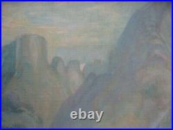 Antique Vintage Old Native American Painting Desert Landscape Wpa Style Signed