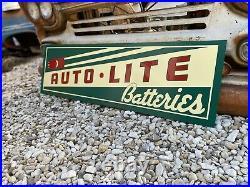 Antique Vintage Old Style Auto Lite Batteries Sign