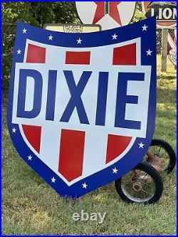 Antique Vintage Old Style Dixie Gasoline Sign