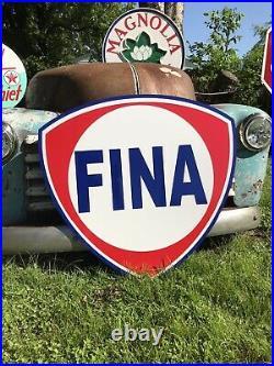 Antique Vintage Old Style Fina Gasoline Sign 40