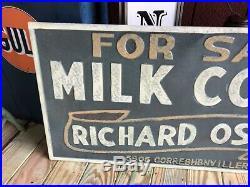 Antique Vintage Old Style Large 48x24 Richard Oster Milk Cows Sale Farm Sign