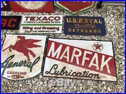 Antique Vintage Old Style Lot Of 10 Gas Oil Signs -NO Atlas pontiac mobil texaco