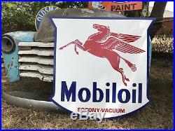Antique Vintage Old Style Mobil Oil Pegasus Service Station Sign Mobiloil 40