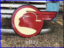 Antique Vintage Old Style Pontiac Logo Sign