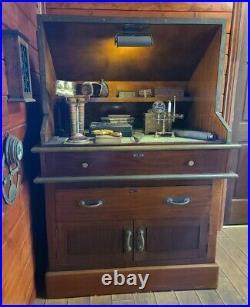 Antique Vintage Sea Captain's Desk Table Old World Style Nautical Rustic Decor