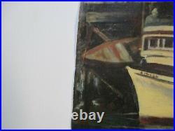 Antique Vintage Wpa Style Impressionist Painting Nautical Regionalism Marina Old