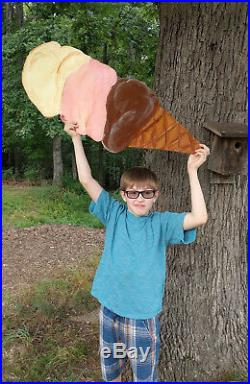 Antique style Vintage Ice Cream Cone Sign Old Fashioned road side three dip ad