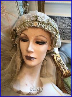 Antique vtg old wedding net lace wedding veil flowers bonnet victorian style