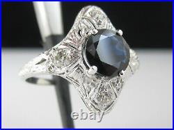 Art Deco Ring Blue Sapphire Old Mine Diamond Vintage Style Estate Retro Filigree