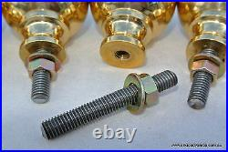 BED KNOBS 4 solid Brass small 2.1/4 high old style COT heavy vintage polished B